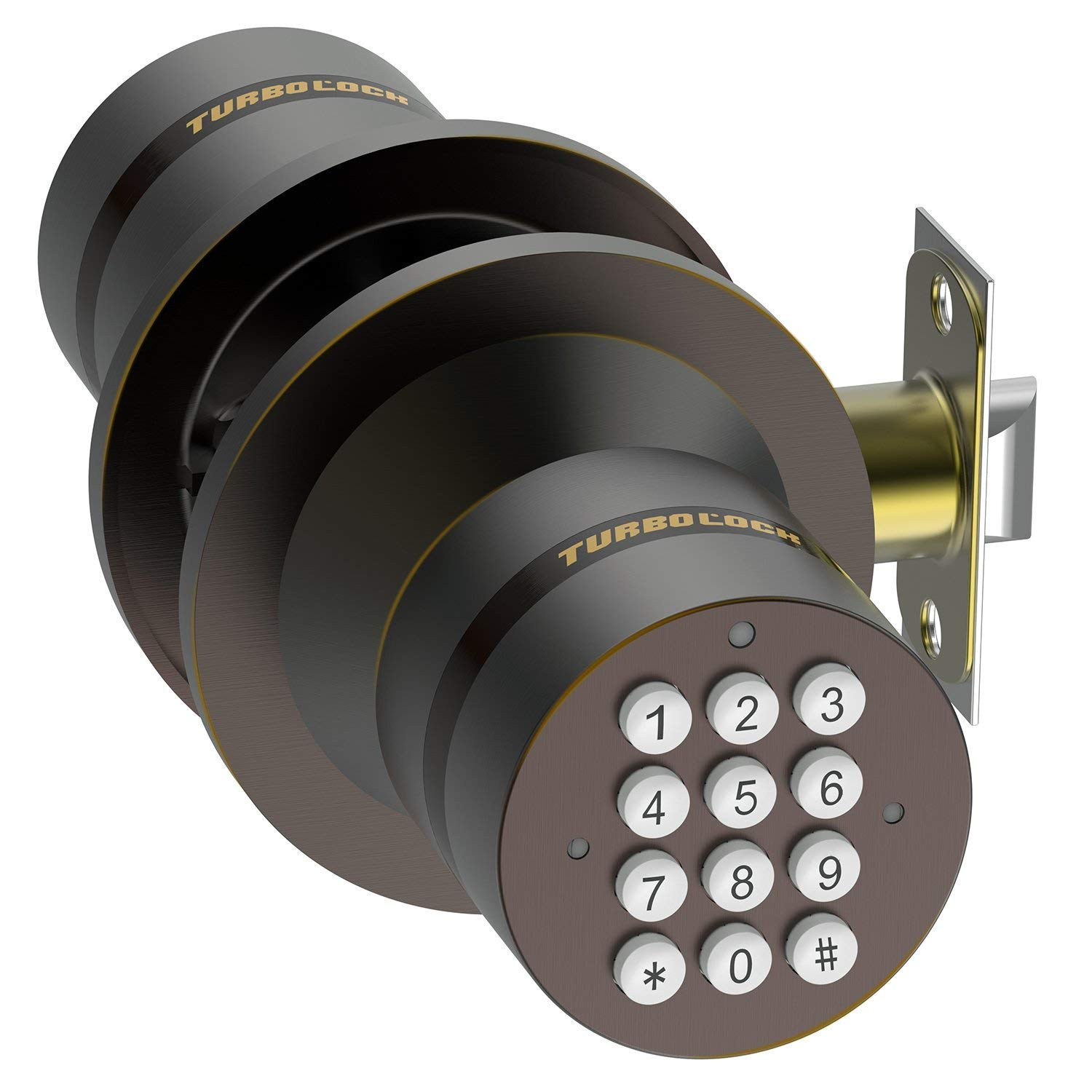 TurboLock TL-99 Bluetooth Smart Lock for Keyless Entry & Live Monitoring – Send & Delete eKeys w/App on Demand (Bronze)