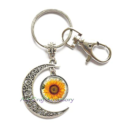 Amazon.com : Sunflower Moon Keychain Key Ring Jewelry ...