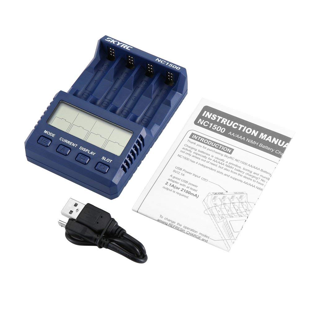 DGdolph SKYRC NC1500 AA//AAA NiMH Analizzatore Caricabatterie Batterie Caricabatterie Scaricatore Nero