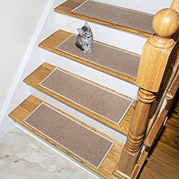 "Ottomanson Set Variation of Skid-Resistant Rubber Backing Non-Slip Carpet Stair Treads (8.5"" x 26.5""-14Pack), 14 Pack, Dark Beige"