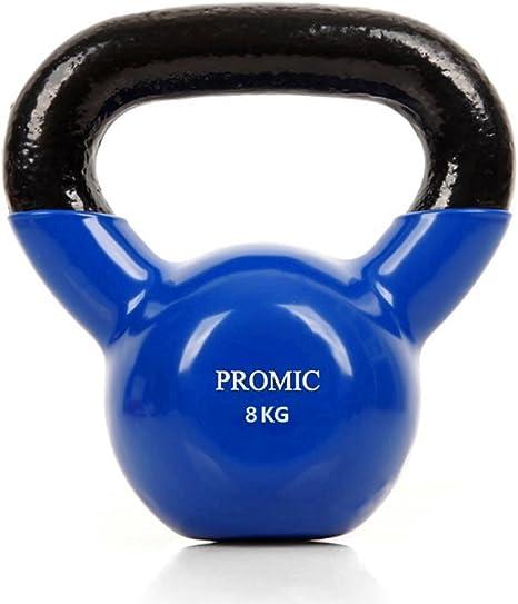 Pesa rusa (hierro cabeza Promic Fitness equipo de entrenamiento con revestimiento de vinilo levantar pesos 2 kg 4 kg 6 kg 8 kg para hombres y mujeres Azul Color gimnasio en casa