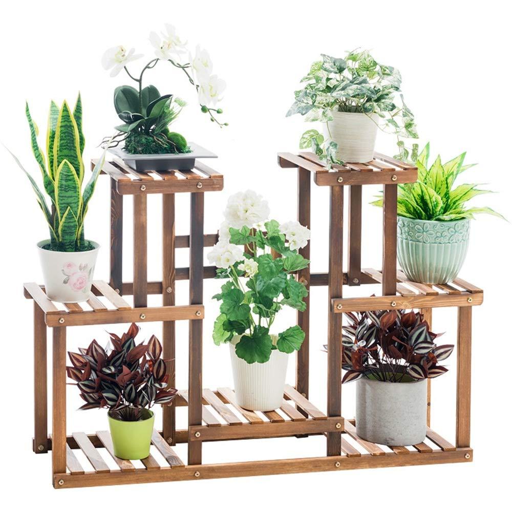 Stand di fiori Flower Rack Plant Stand Multi mensole in legno Bonsai Espositore Indoor Outdoor Cortile Giardino Patio Balcone Scaffale multifunzionale Scaffale Scaffale Esposizione di impianti interni