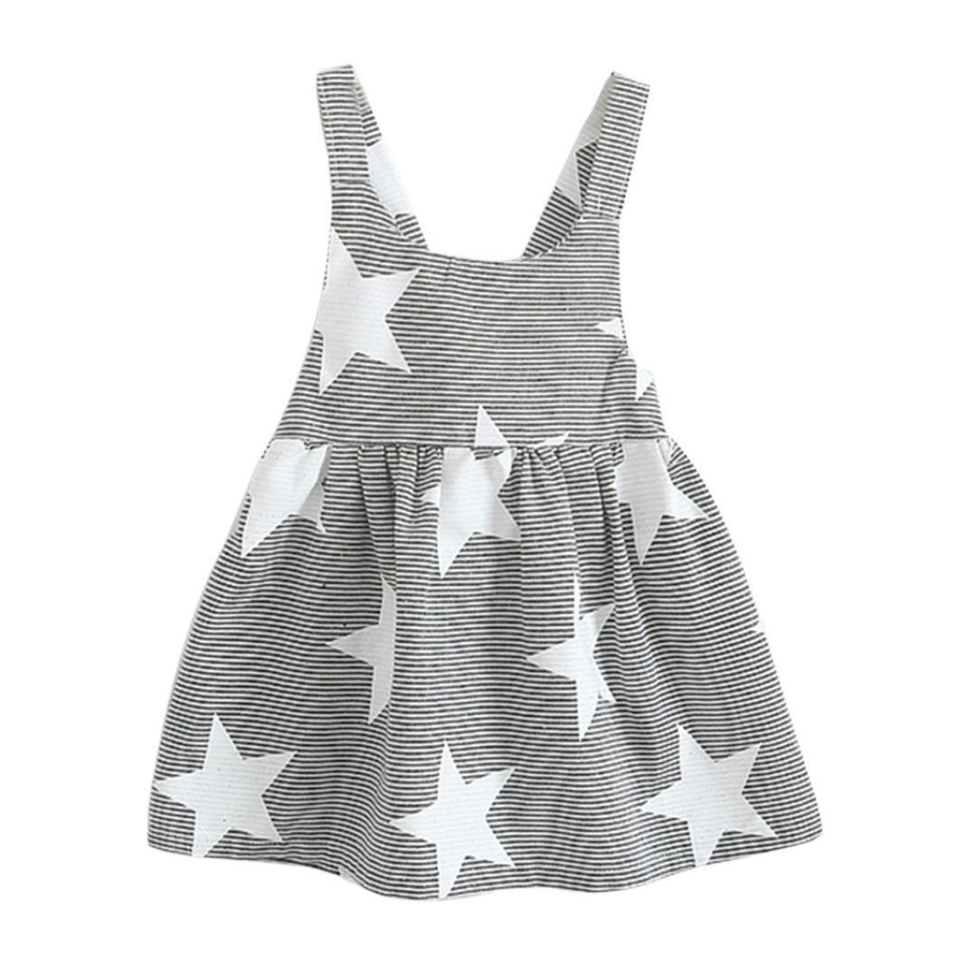Lanhui Baby Girls Sleeveless Beach Sundress Sun Moon Star Striped Party Dress