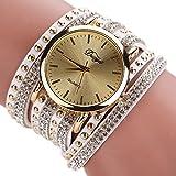 Duoya Women's Sunray Dial Crystal Watch Wrap Around Leather Bracelet D017