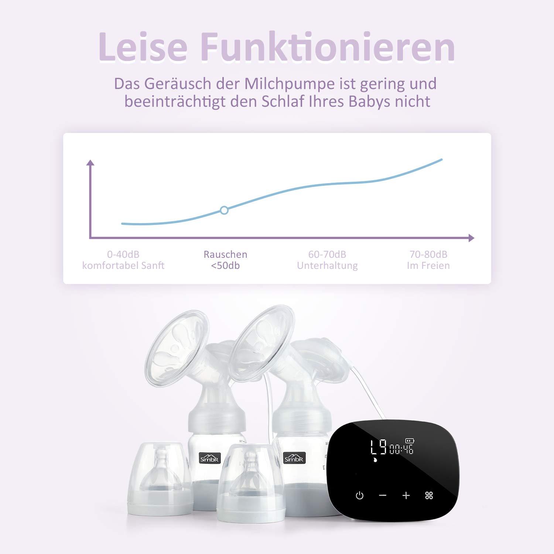 4 Modi und 16 Saugstufen Touchscreen perfekt zum Stillen BPA-frei SIMBR Elektrische Doppel-Milchpumpe mit Massage- und Speicherfunktion wiederaufladbar