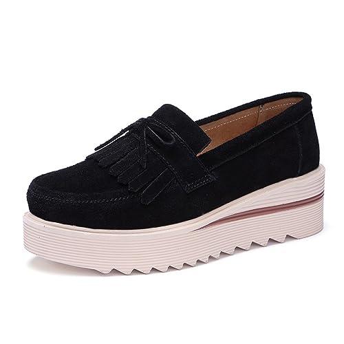 Las Mujeres Plataforma Zapatos de Cuero de Gamuza Deslizamiento en Mocasines Plana Mujeres Moccains Zapatos Casuales
