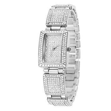 SW Watches Relojes De Las Mujeres, Diamantes De Imitación Cuadrados De Diseño Dail Pequeño,