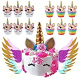 Unicorn Cake Topper & Sparkly Wing & Unicorn Cupcake Wrappers - LEMENSTART Unicorn Themed Party Favors Decorations for Unicorn Party Baby Shower Wedding Birthday Decorations