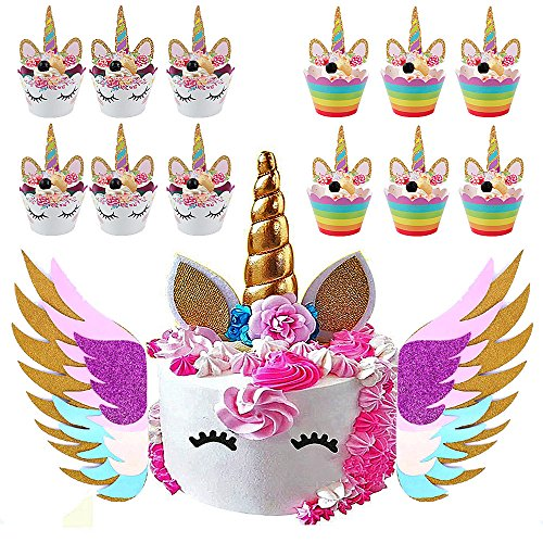 Unicorn Cake Topper & Sparkly Wing & Unicorn Cupcake Wrappers - LEMENSTART Unicorn Themed Party Favors Decorations for Unicorn Party Baby Shower Wedding Birthday Decorations by LEMENTSTAR (Image #7)