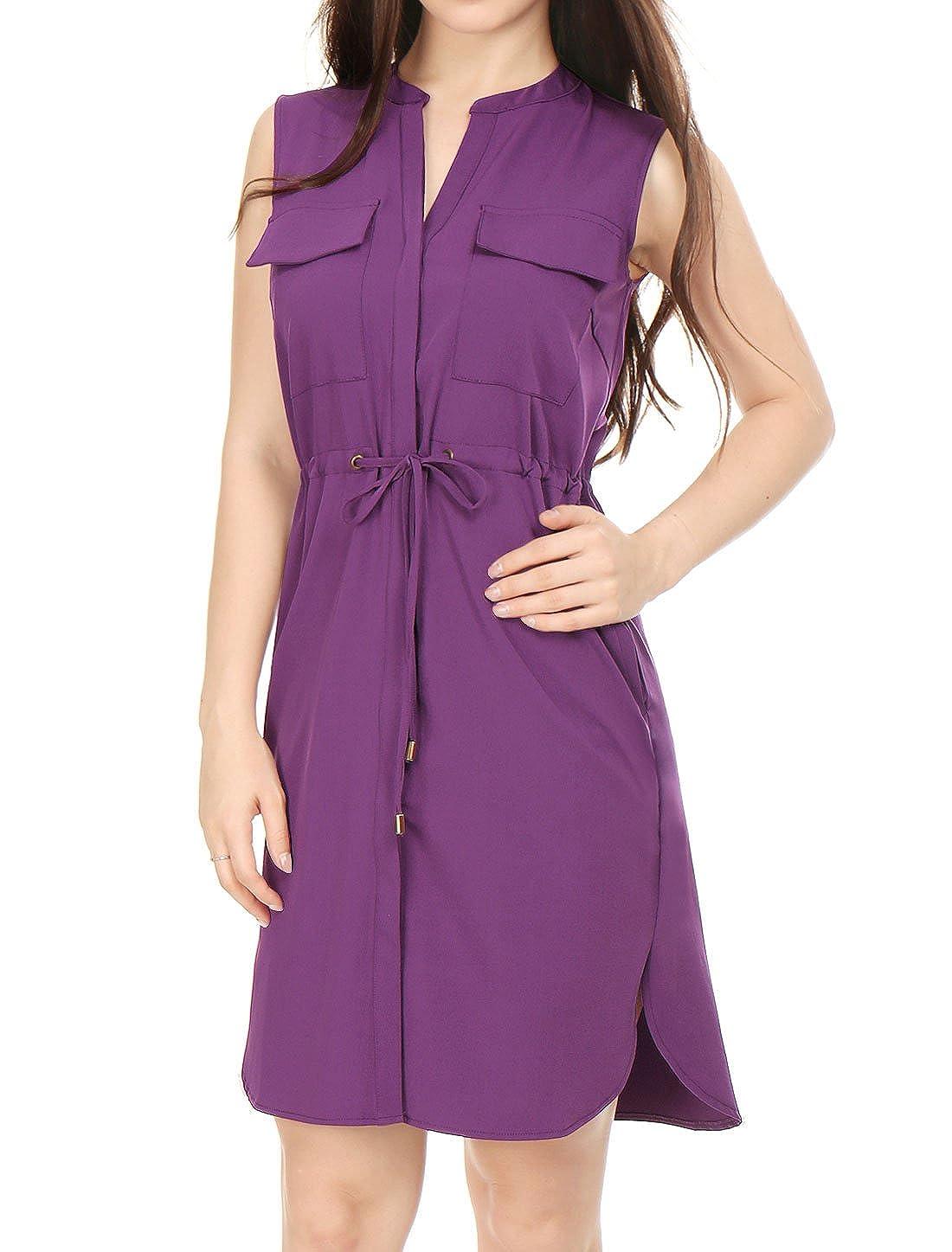 b99ce83774154 Allegra K Women's Sleeveless Drawstring Tie Waist Dress with Pockets at  Amazon Women's Clothing store: