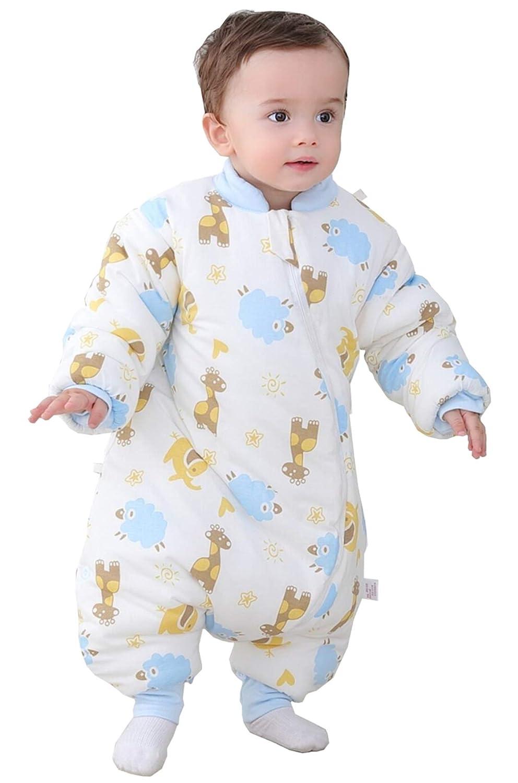 Chilsuessy Schlafsack mit Füßen 3.5 Tog warm gefüttert für Winter Kinder Schlafsack mit abnembar Langarm Unisex Baby Schlafsack Schlafanzug, Blau, 80/Koerpergroesse 80-90cm