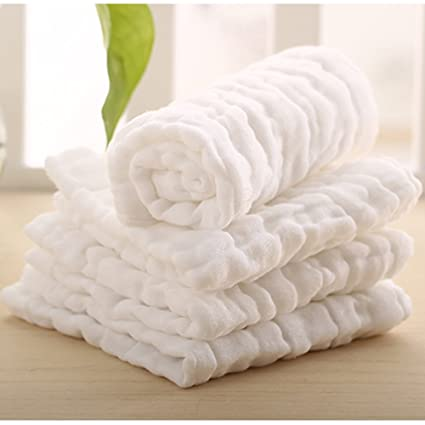 Lucear 6-Pack Baby Washcloths, reusable wipes, Muslin Warm Baby Bath Towels for shower gift.