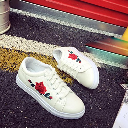 Sneakers Womens Tenworld Shoes up Fashion Flats White Walking Lace Flower 7 Rose White qCrwCExdn4