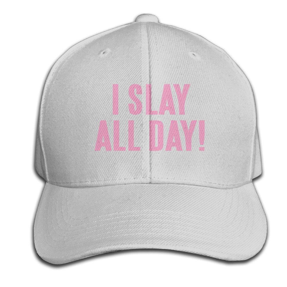 4c270ef5565 Amazon.com  I Slay All Day Pink Letters Baseball Peaked Cap Ash  Clothing