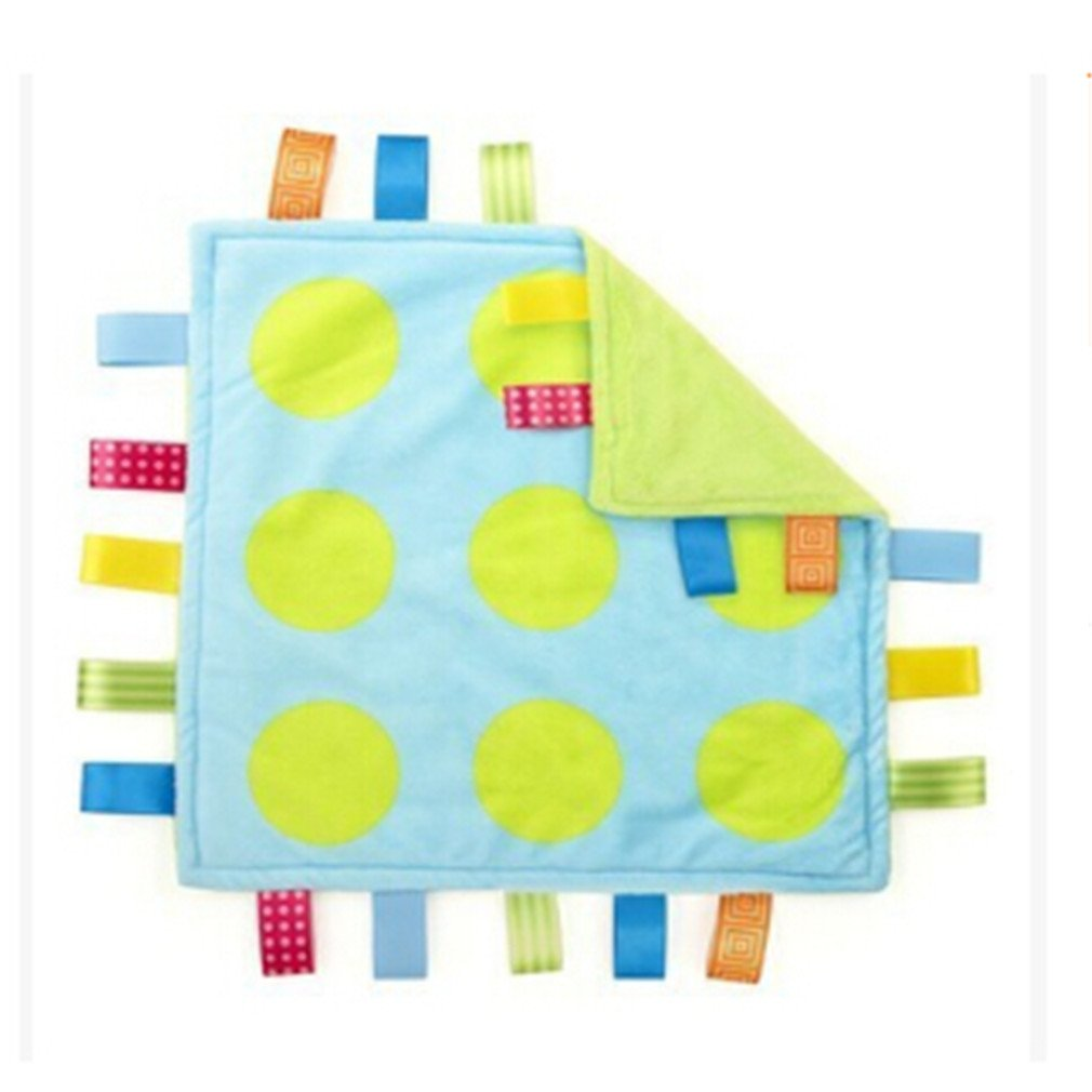 Blue dot VWH Baby Taggy Plush Security Comforter Tag Blankets