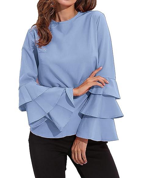 ebb4d97b71bbdb StyleDome Womens Blouses Long Sleeve Boho Crew Neck Ruffled Tops 01 Light  Blue US 4