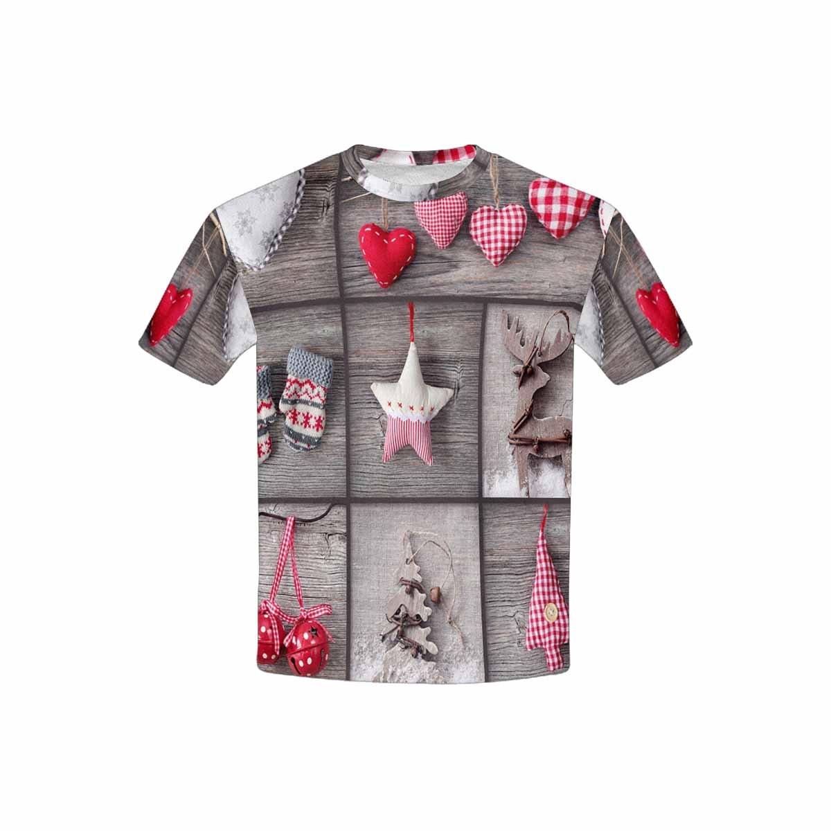 XS-XL INTERESTPRINT Childs T-Shirt Christmas Photos Over Grey Wood