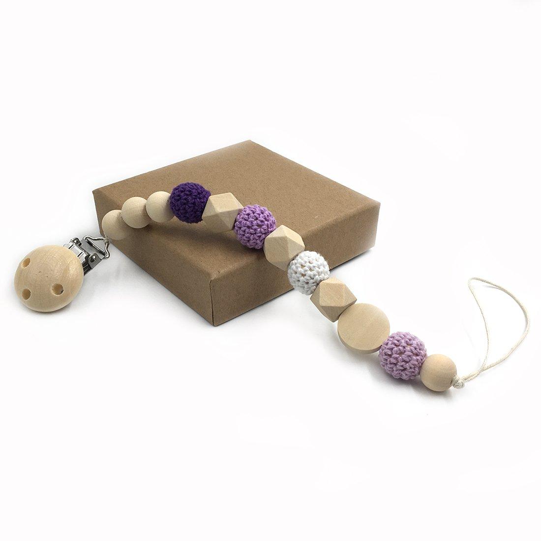 Coskiss Enfermera geométrica de madera de dientes ganchillo perlas chupete clip maniquí color natural cordón de seda Baby Teether regalo (púrpura)