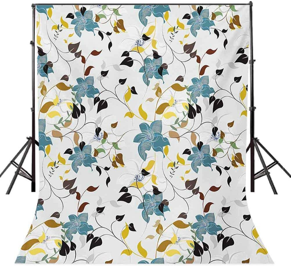 Leaf 8x10 FT Backdrop Photographers,Seasonal Flowers with Colorful Leaves Poison Ivy Plant in Contemporary Design Print Background for Photography Kids Adult Photo Booth Video Shoot Vinyl Studio Props