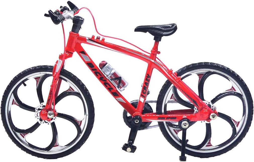 Ailejia Alloy Mini Bicycle Model Finger Mountain Bike Mini Bicycle Cool Junge Toy Decoration Crafts für Zuhause (Racing Bike Red)