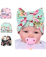 Ever Fairy Infant Baby Girls Floral Print Nursery Newborn Hospital Hat Cap with Big Bow