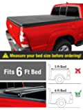 MaxMate Tri-Fold Truck Bed Tonneau Cover Works with 2019 Toyota Tacoma   Fleetside 6' Bed   for Models with or Without The Deckrail System