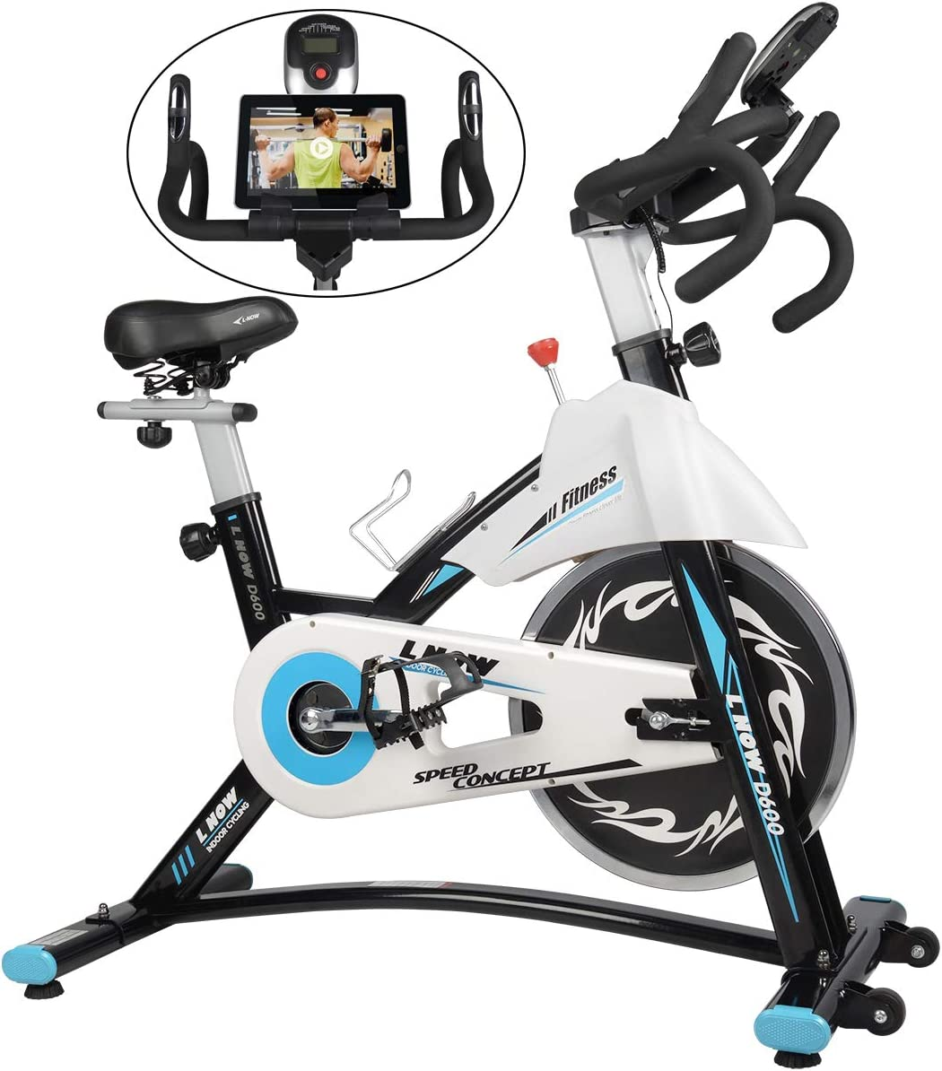 L NOW Indoor Exercise Bike Indoor Cycling Stationary Bike, Belt Drive with Heart Rate, Adjustable Seat and Handlebar, Tablet Holder, Stable Quiet and Smooth for Home Cardio Workout D600