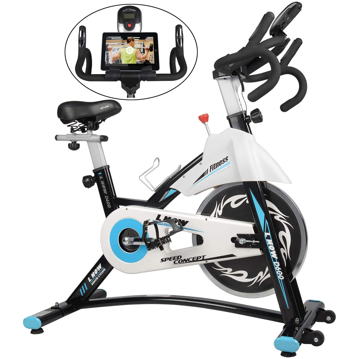 Tablet Holder D600 Stable Quiet and Smooth for Home Cardio Workout Belt Drive with Heart Rate Adjustable Seat and Handlebar L Now Indoor Exercise Bike Indoor Cycling Stationary Bike