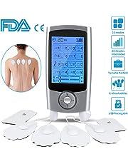 Electroestimulador Digital Masaje EMS TENS Portatil, 16 Modos 6 Pads 2 Canales Estimulador Muscular Recargable Masajeador Electro para Alivio del Dolor de Cervical/Piernas/Abdominal/Espalda/Cuello