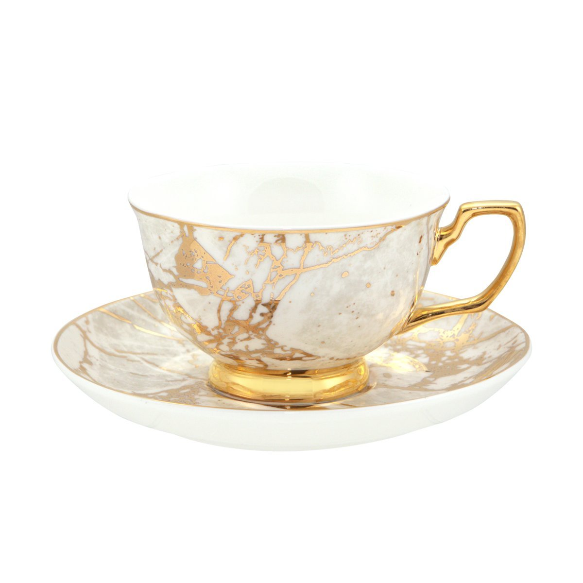 Cristina Re Teacup & Saucer White/Gold Celestite