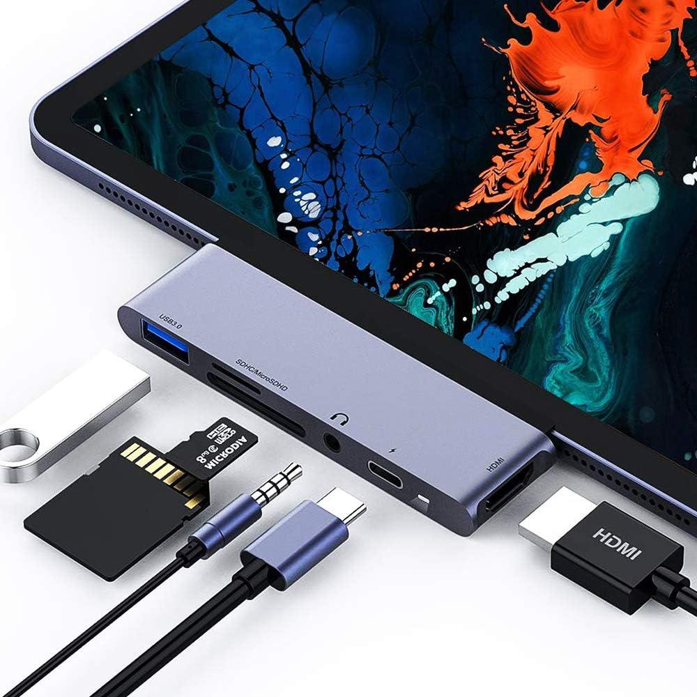 Hub USB C para iPad Pro 2018, adaptador HDMI C a 4K 6 en 1 con USB3.0, lector de tarjetas SD / TF, conector para auriculares de 3.5 mm, carga PD, convertidor HDMI compatible con iPad Pro 2018(Gris)