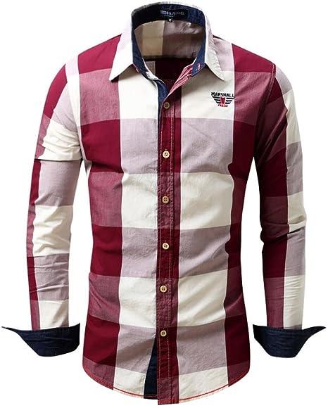 Camisas hombre Camisa de manga larga de dril de algodón cuadros solapa Mejores cuadros Fit Slim, YanHoo® camisas hombre comprar Casual para hombre ...