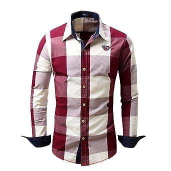 b02a091b1c790 Camisas hombre Camisa de manga larga de algodón del dril de algodón cuadros  solapa Mejores cuadros