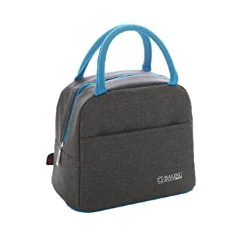 8f00ab647cd7 Rayhee Small Tote Lunch Bags with Front Side Pocket Stylish Thermal Lunch  Box Zip Closure Insulated Bag Cooler Bag Grey