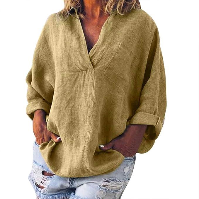 LRWEY Camisetas para Mujer, Mujer Moda Tallas Grandes sólido Lino Casual con Cuello en v Blusa Camiseta: Amazon.es: Ropa y accesorios