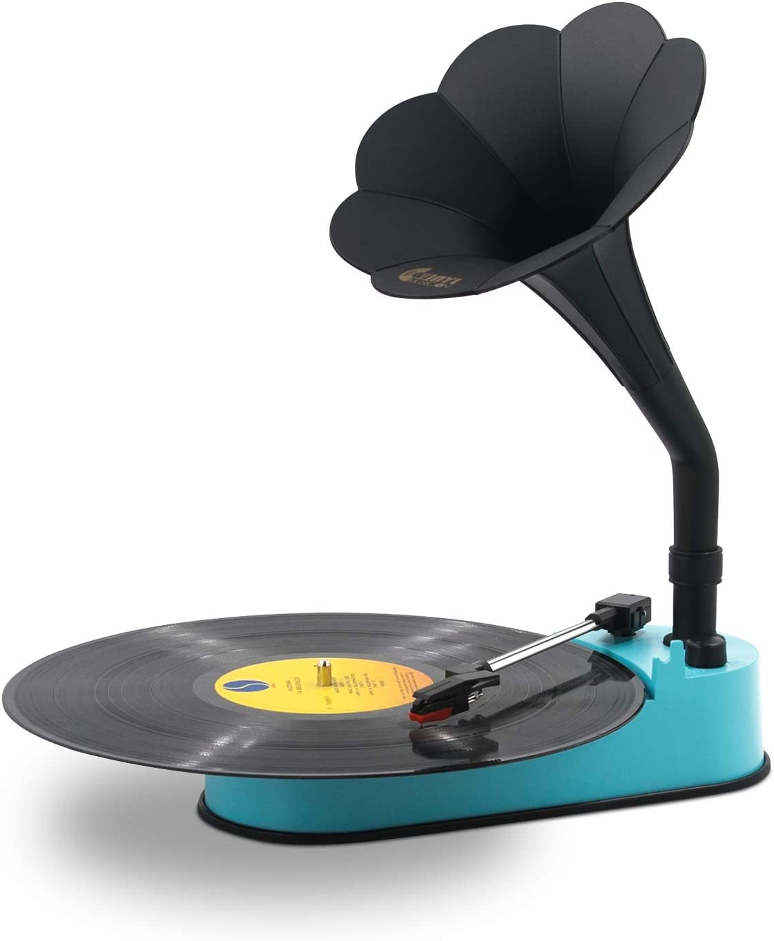 Turntable Record Player with Horn Speaker for 33/45 RPM Records,Mini Gramophone Supporting Bluetooth Playback Blue