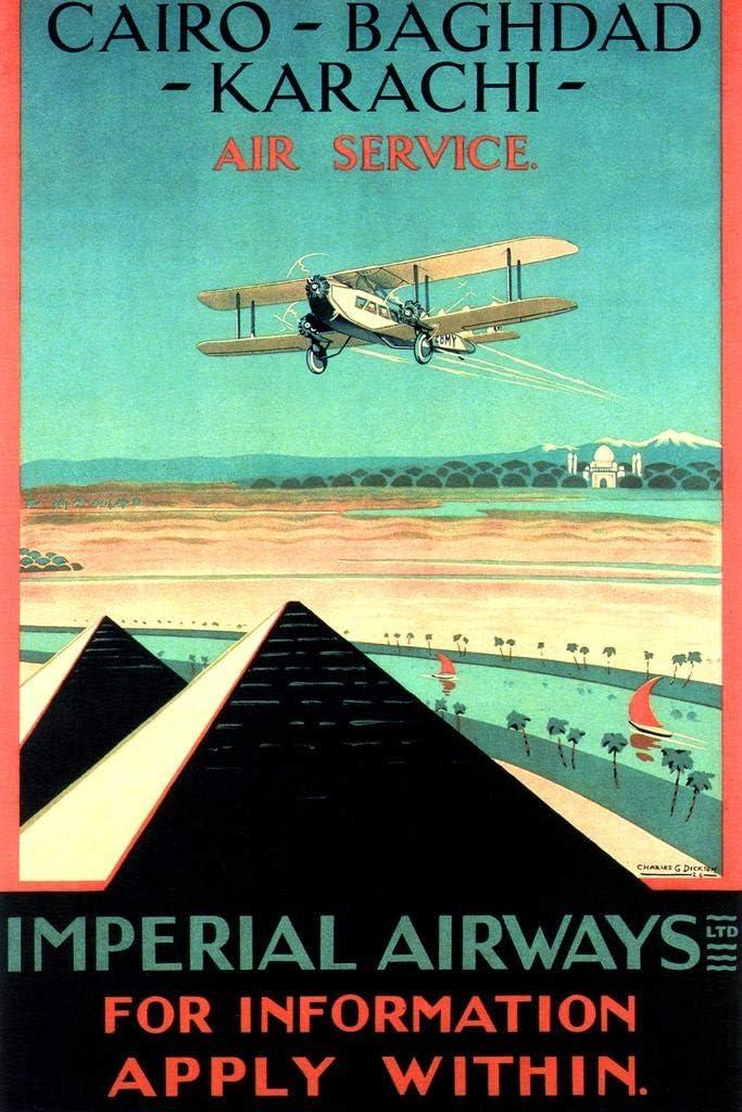 England Imperial Airways Cairo Baghdad Karachi Air Service Egyptian Pyramids Biplane Airplane Vintage Illustration Travel Cool Wall Decor Art Print Poster 24x36