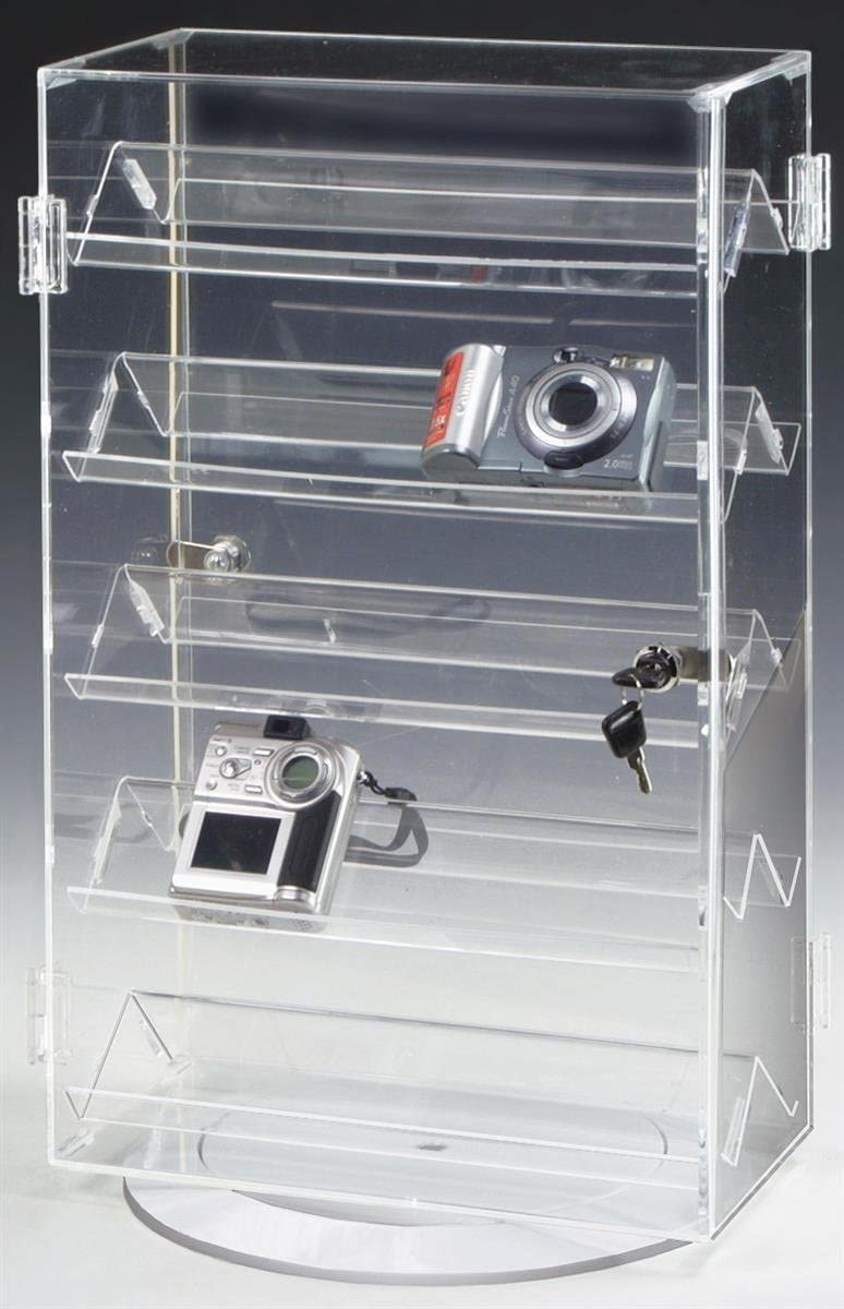 Countertop Jewelry Display Case, Clear Acrylic with 5 Slanted Shelves and 2 Locking Swing Open Doors