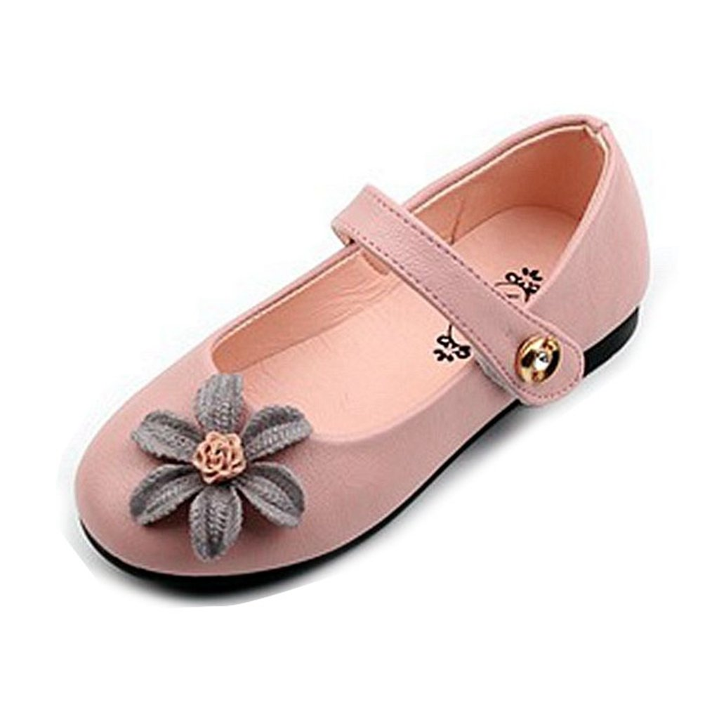 GIY Girl'Marry Jane Dress Ballet Flower Comfortable Rubber Outsole Princess Flat Shoes(Toddler/Little Kid)
