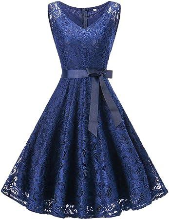 Amphia Damen Spitzen Rockabilly Kleid Festlich Partykleid Cocktailkleid  Brautjungfern Kleid Rundhals/V Ausschnitt Ärmellos (Blau, L)