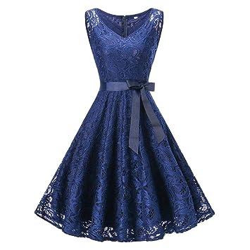 Amphia Damen Spitzen Rockabilly Kleid Festlich Partykleid Cocktailkleid Brautjungfern Kleid RundhalsV Ausschnitt Ärmellos (Blau, S)