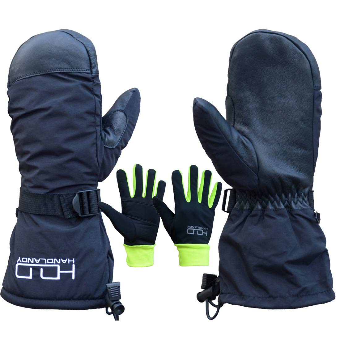 Euglove Ski Mittens,Womens//Mens Windproof Winter Cowskin Palm Gloves with 3M Thinsulate Insulation,Idea for Winter Sports