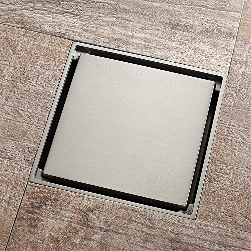 Tile Insert Square Shower Floor Drain 4-Inch Pure Cupper Brushed Grate Strainer With Removable Cover Anti-Clogging, High-Grade Floor Drain by YJZ (Image #2)