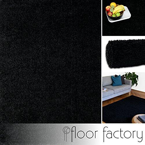 Hochflor Shaggy Teppich Colors schwarz 160x230cm - pflegeleichter und günstiger Langflorteppich