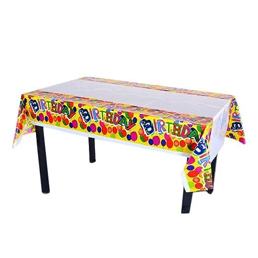 1 Mantel, cumpleaños Mantel, desechables Plastic Table Cover, cumpleaños para niños y Fiesta temática, niños fiesta de cumpleaños Alimentación, A, A