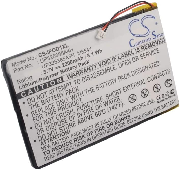 fits Part Number P325385A4H Media Player Cameron Sino CS-IPOD1XL 3.7V Li-Polymer 2200mAh//8.14Wh Replacement Battery for iPod 1st 2nd Generation