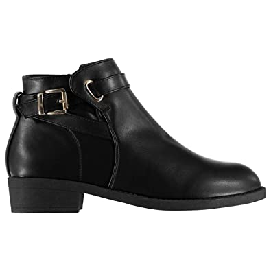 f72e54e037ad Miso Womens Buckle Boots Flat Ankle Zip Slight Heel Strap Casual  Comfortable Fit  Amazon.co.uk  Shoes   Bags