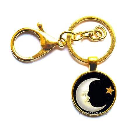 Llavero de luna y estrella, llavero de luna, llavero de ...