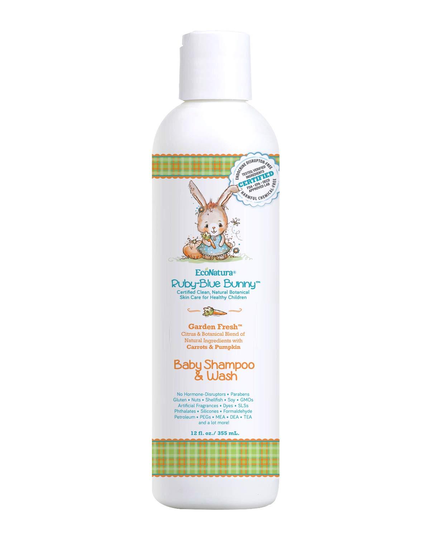 Ruby-Blue Bunny Garden Fresh Organic Baby Shampoo & Wash | Paraben-free All-Natural Organic Botanical Garden Ingredients…
