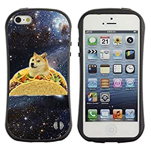 Hybrid Anti-Shock Bumper Case for Apple iPhone 5 5S / Taco Dog In Space
